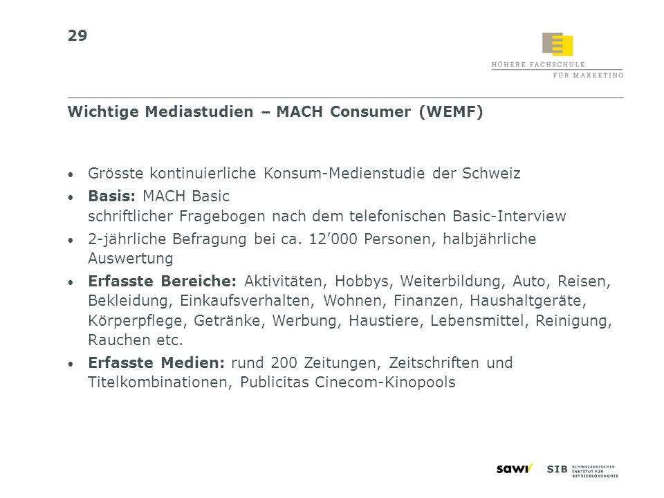 29 Grösste kontinuierliche Konsum-Medienstudie der Schweiz Basis: MACH Basic schriftlicher Fragebogen nach dem telefonischen Basic-Interview 2-jährlic