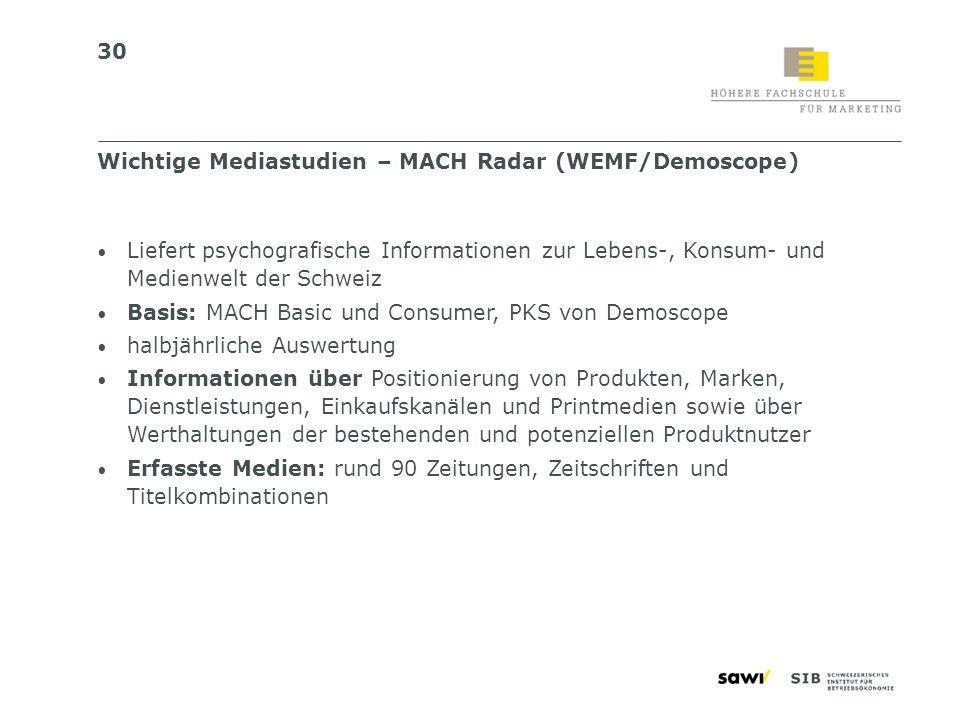 30 Liefert psychografische Informationen zur Lebens-, Konsum- und Medienwelt der Schweiz Basis: MACH Basic und Consumer, PKS von Demoscope halbjährlic