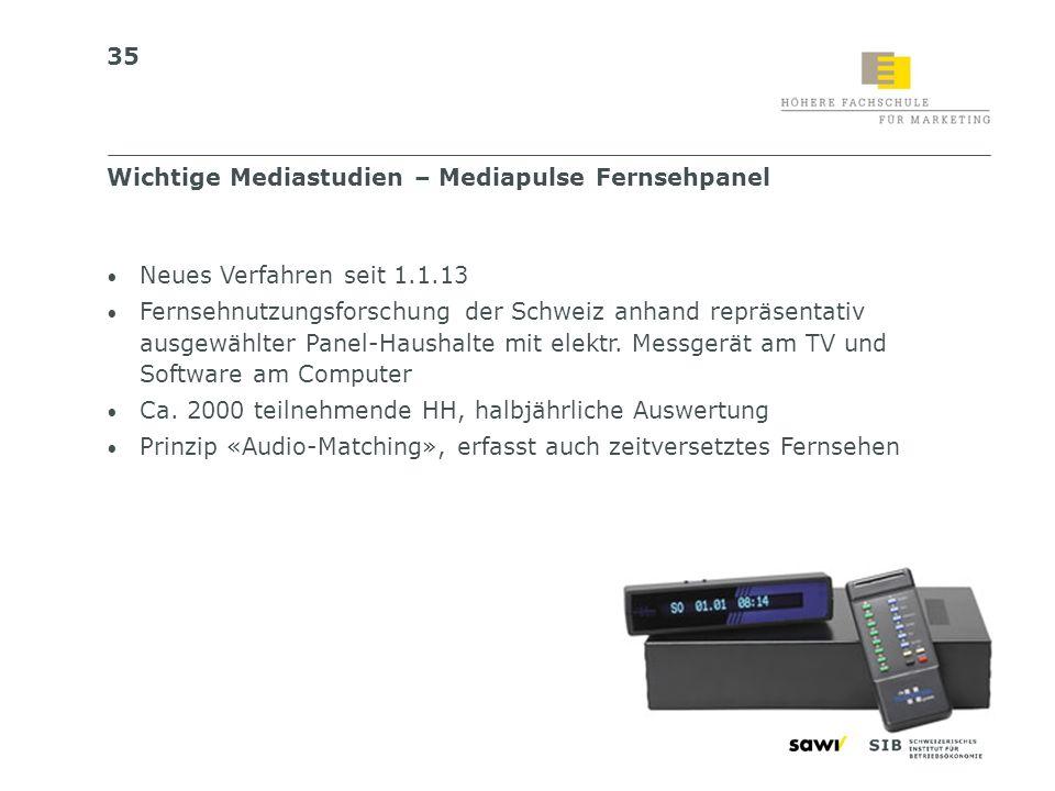 35 Neues Verfahren seit 1.1.13 Fernsehnutzungsforschung der Schweiz anhand repräsentativ ausgewählter Panel-Haushalte mit elektr. Messgerät am TV und