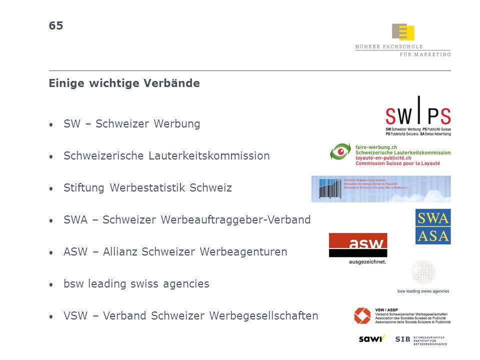 65 SW – Schweizer Werbung Schweizerische Lauterkeitskommission Stiftung Werbestatistik Schweiz SWA – Schweizer Werbeauftraggeber-Verband ASW – Allianz