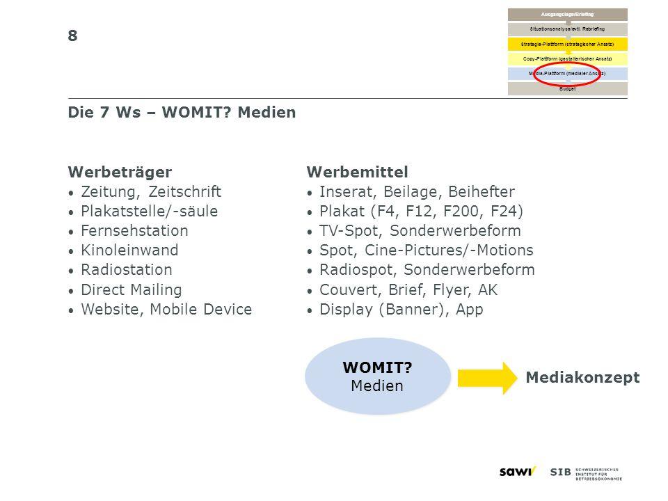 8 Die 7 Ws – WOMIT? Medien Werbeträger Zeitung, Zeitschrift Plakatstelle/-säule Fernsehstation Kinoleinwand Radiostation Direct Mailing Website, Mobil