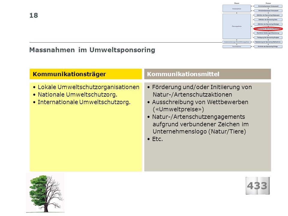 18 Massnahmen im Umweltsponsoring 433 Kommunikationsträger Kommunikationsmittel Lokale Umweltschutzorganisationen Nationale Umweltschutzorg. Internati