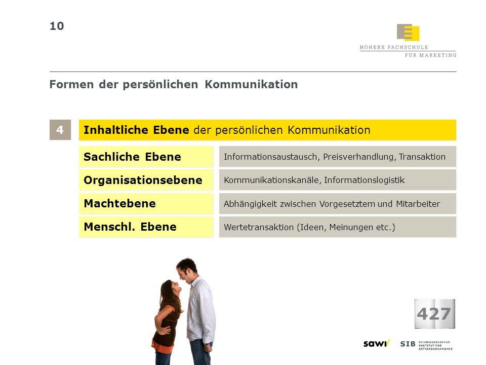 10 Formen der persönlichen Kommunikation Inhaltliche Ebene der persönlichen Kommunikation 4 4 427 Sachliche Ebene Informationsaustausch, Preisverhandl