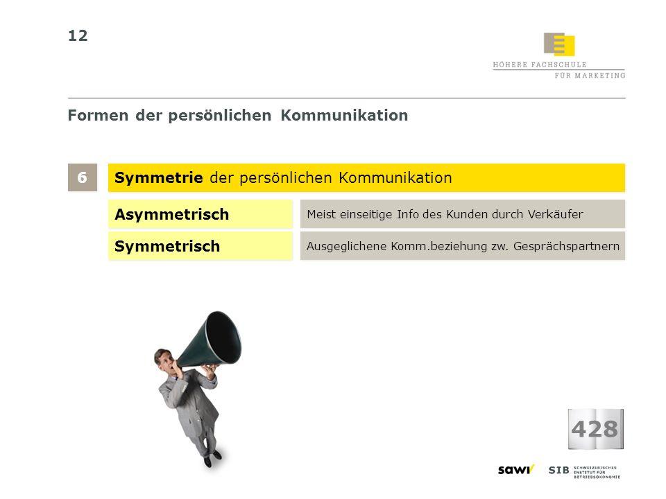 12 Formen der persönlichen Kommunikation Symmetrie der persönlichen Kommunikation 6 6 428 Asymmetrisch Meist einseitige Info des Kunden durch Verkäufe