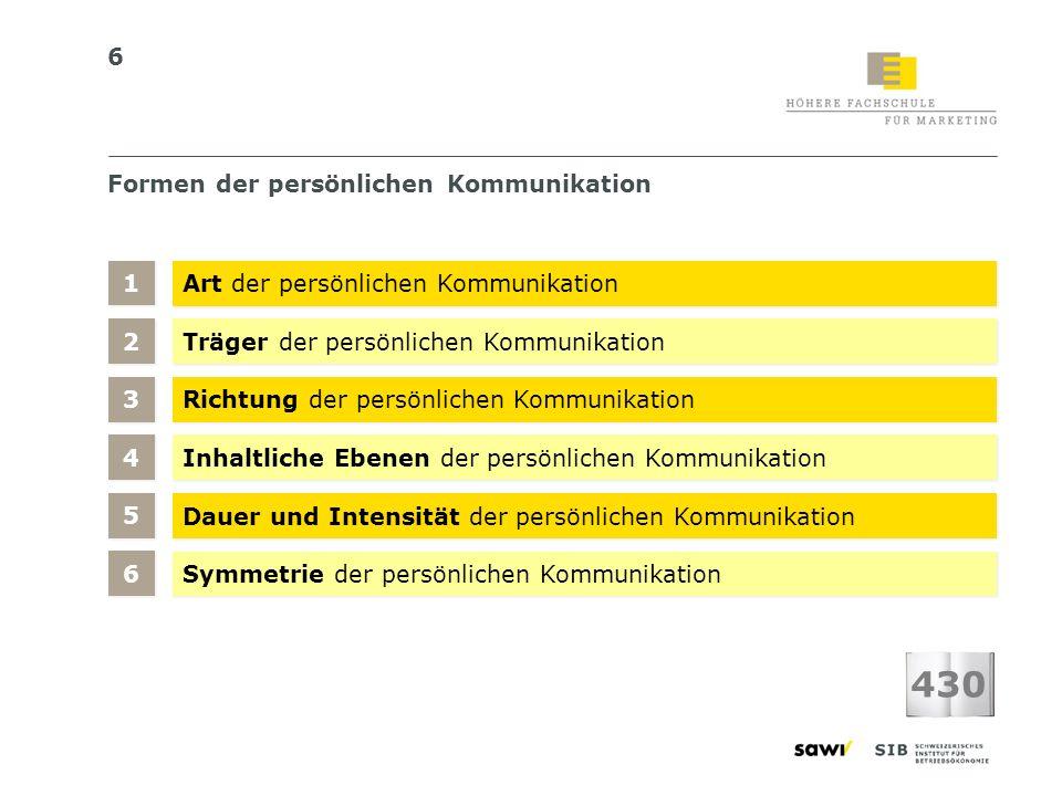 6 Formen der persönlichen Kommunikation Art der persönlichen Kommunikation Träger der persönlichen Kommunikation 1 1 Richtung der persönlichen Kommuni