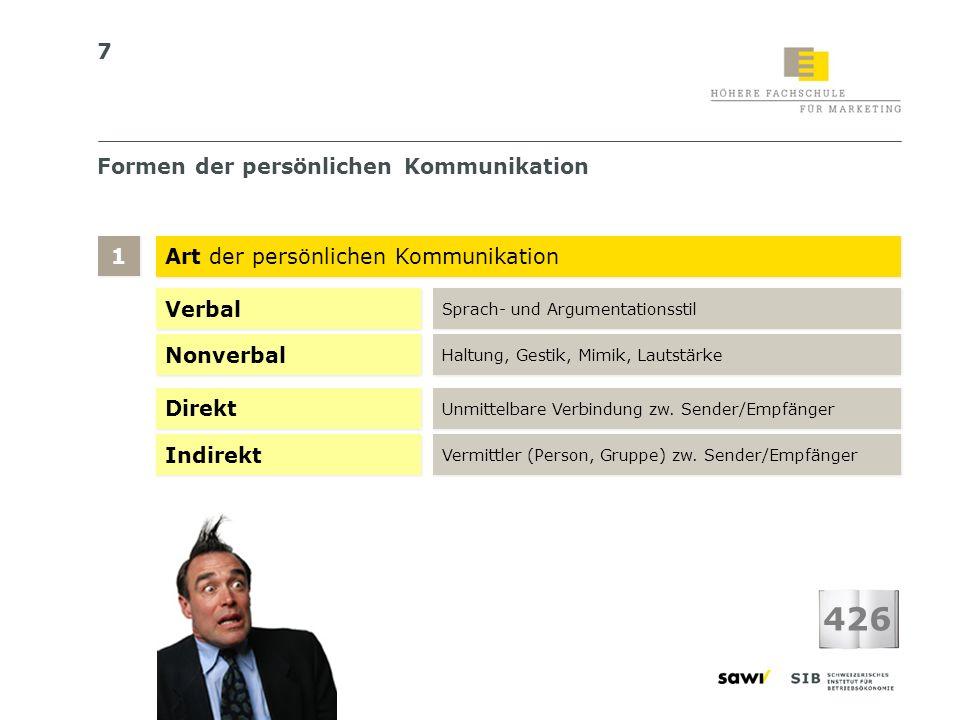7 Formen der persönlichen Kommunikation Art der persönlichen Kommunikation 1 1 426 Verbal Sprach- und Argumentationsstil Nonverbal Haltung, Gestik, Mi