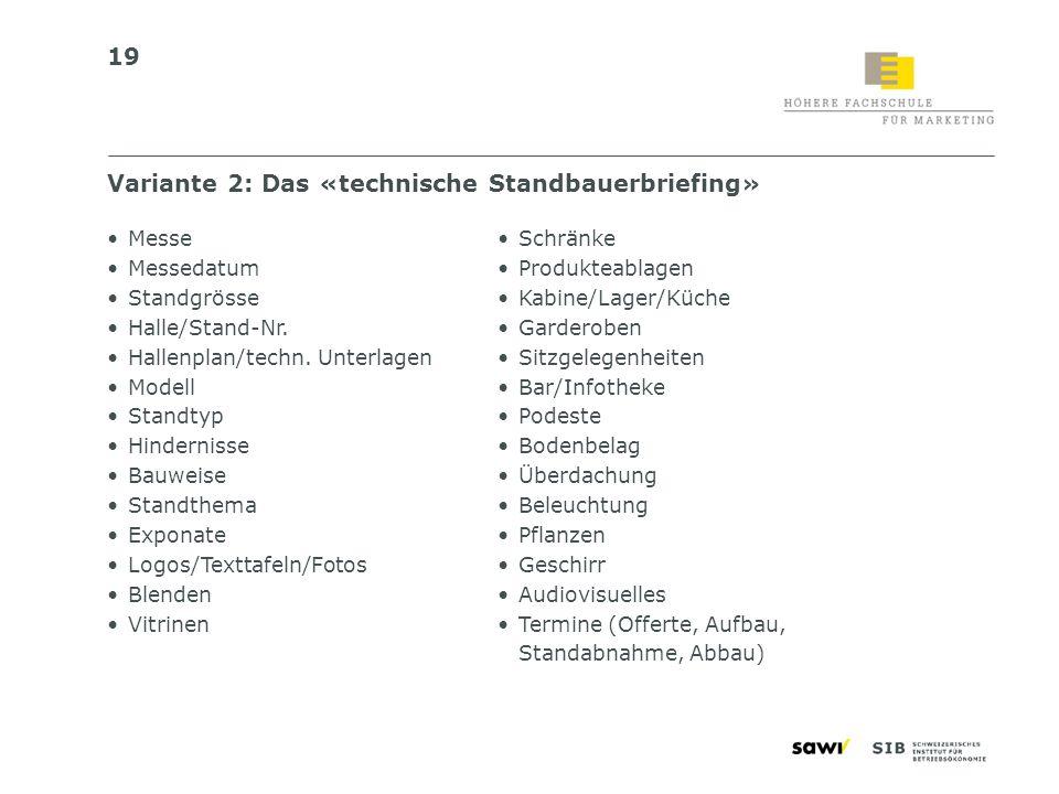 19 Variante 2: Das «technische Standbauerbriefing» Messe Messedatum Standgrösse Halle/Stand-Nr. Hallenplan/techn. Unterlagen Modell Standtyp Hindernis