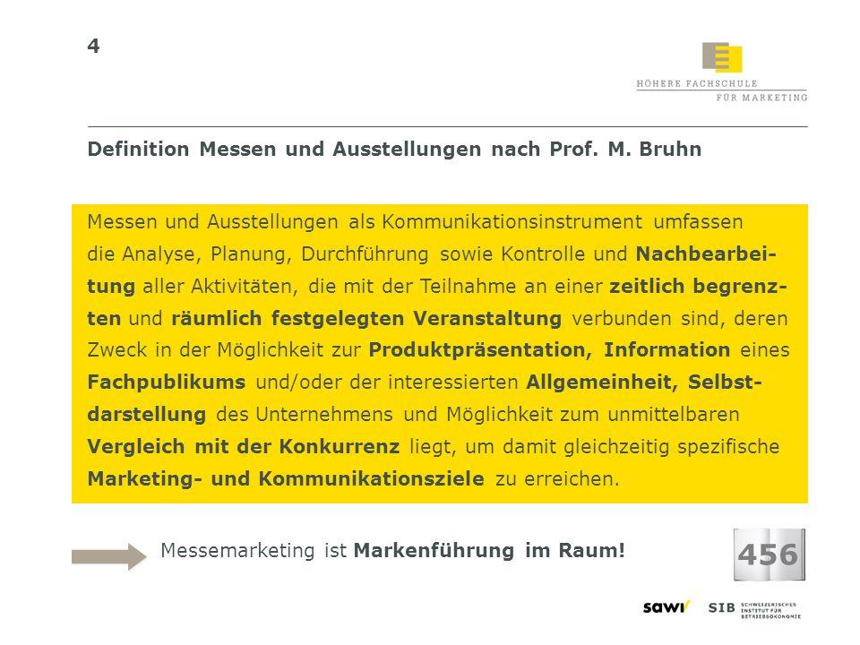 4 Definition Messen und Ausstellungen nach Prof. M. Bruhn Messen und Ausstellungen als Kommunikationsinstrument umfassen die Analyse, Planung, Durchfü
