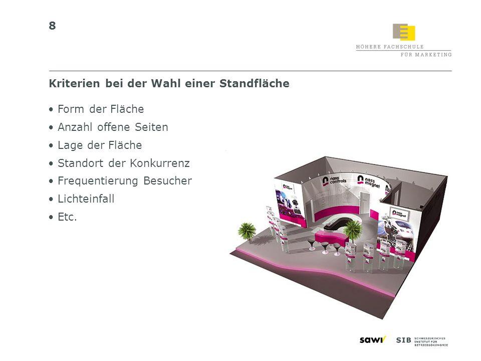 19 Variante 2: Das «technische Standbauerbriefing» Messe Messedatum Standgrösse Halle/Stand-Nr.