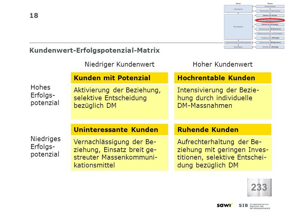 18 Kundenwert-Erfolgspotenzial-Matrix 233 Kunden mit Potenzial Hochrentable Kunden Aktivierung der Beziehung, selektive Entscheidung bezüglich DM Akti