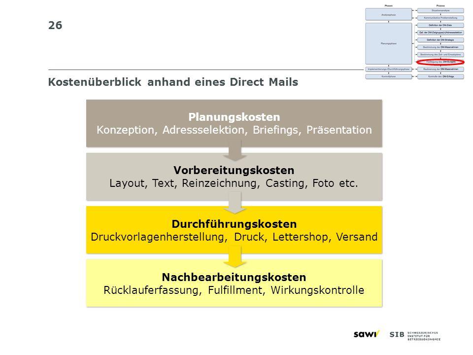 26 Kostenüberblick anhand eines Direct Mails Planungskosten Konzeption, Adressselektion, Briefings, Präsentation Planungskosten Konzeption, Adresssele