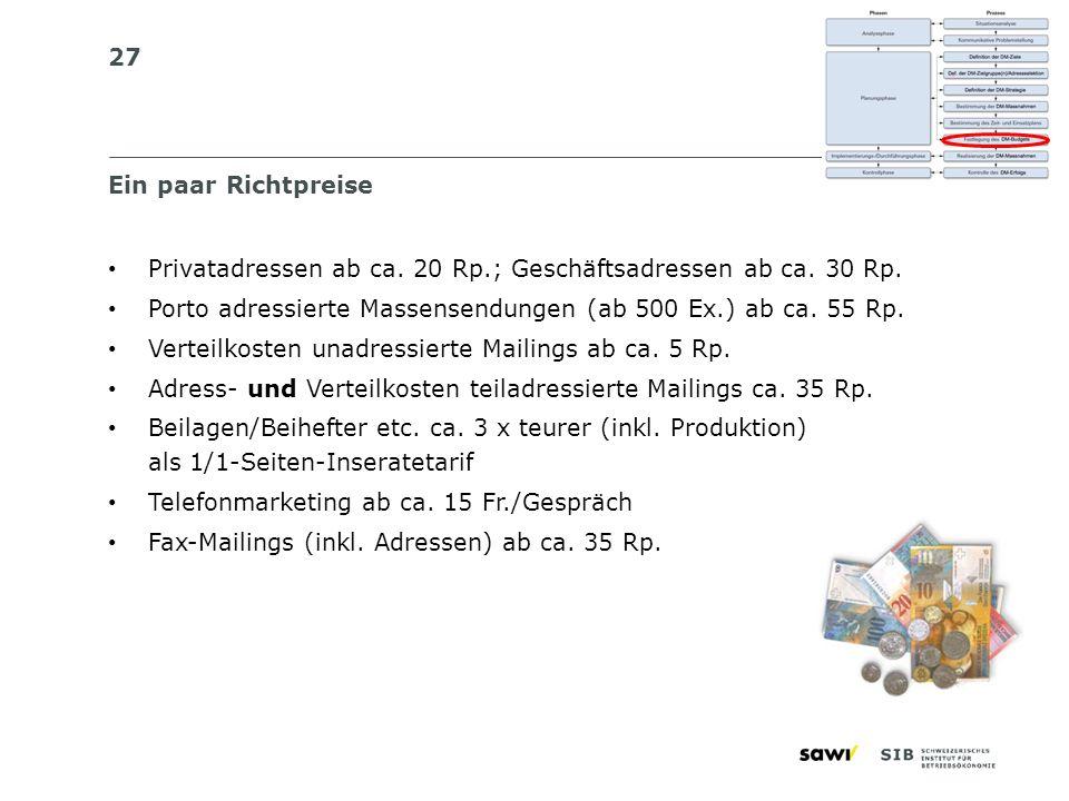 27 Ein paar Richtpreise Privatadressen ab ca. 20 Rp.; Geschäftsadressen ab ca. 30 Rp. Porto adressierte Massensendungen (ab 500 Ex.) ab ca. 55 Rp. Ver