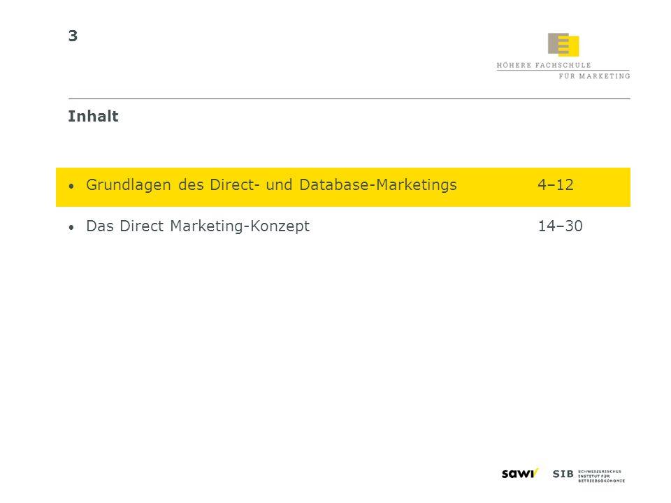 3 Inhalt Grundlagen des Direct- und Database-Marketings4–12 Das Direct Marketing-Konzept14–30