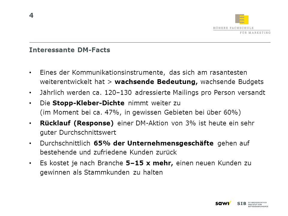 4 Interessante DM-Facts Eines der Kommunikationsinstrumente, das sich am rasantesten weiterentwickelt hat > wachsende Bedeutung, wachsende Budgets Jäh