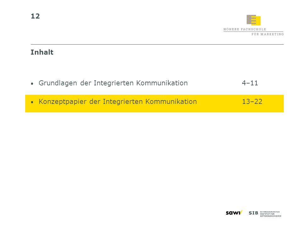 12 Inhalt Grundlagen der Integrierten Kommunikation4–11 Konzeptpapier der Integrierten Kommunikation13–22