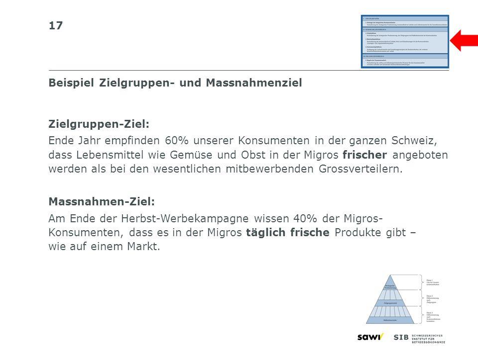 17 Beispiel Zielgruppen- und Massnahmenziel Zielgruppen-Ziel: Ende Jahr empfinden 60% unserer Konsumenten in der ganzen Schweiz, dass Lebensmittel wie