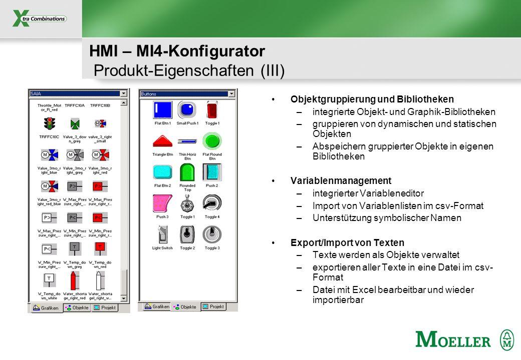 Schutzvermerk nach DIN 34 beachten HMI – MI4-Konfigurator Produkt-Eigenschaften (III) Objektgruppierung und Bibliotheken –integrierte Objekt- und Grap