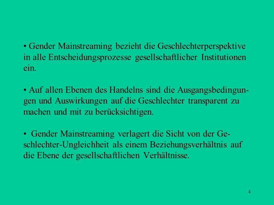 4 Gender Mainstreaming bezieht die Geschlechterperspektive in alle Entscheidungsprozesse gesellschaftlicher Institutionen ein. Auf allen Ebenen des Ha