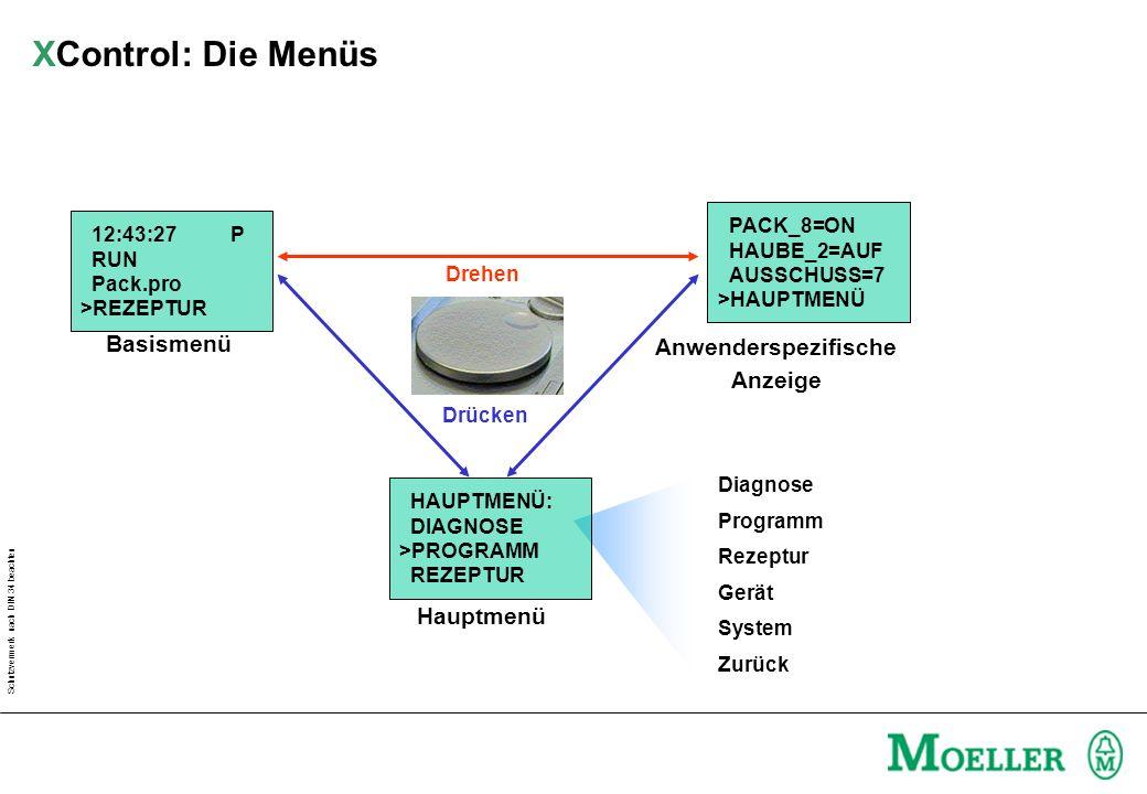 Schutzvermerk nach DIN 34 beachten Diagnose Programm Rezeptur Gerät System Zurück Hauptmenü Anwenderspezifische Anzeige Basismenü Drehen Drücken PACK_