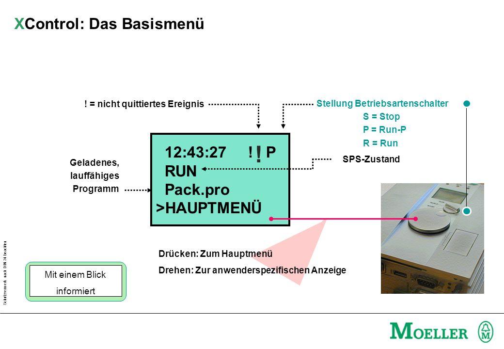 Schutzvermerk nach DIN 34 beachten Stellung Betriebsartenschalter S = Stop P = Run-P R = Run 12:43:27 ! P RUN Pack.pro >HAUPTMENÜ ! ! = nicht quittier