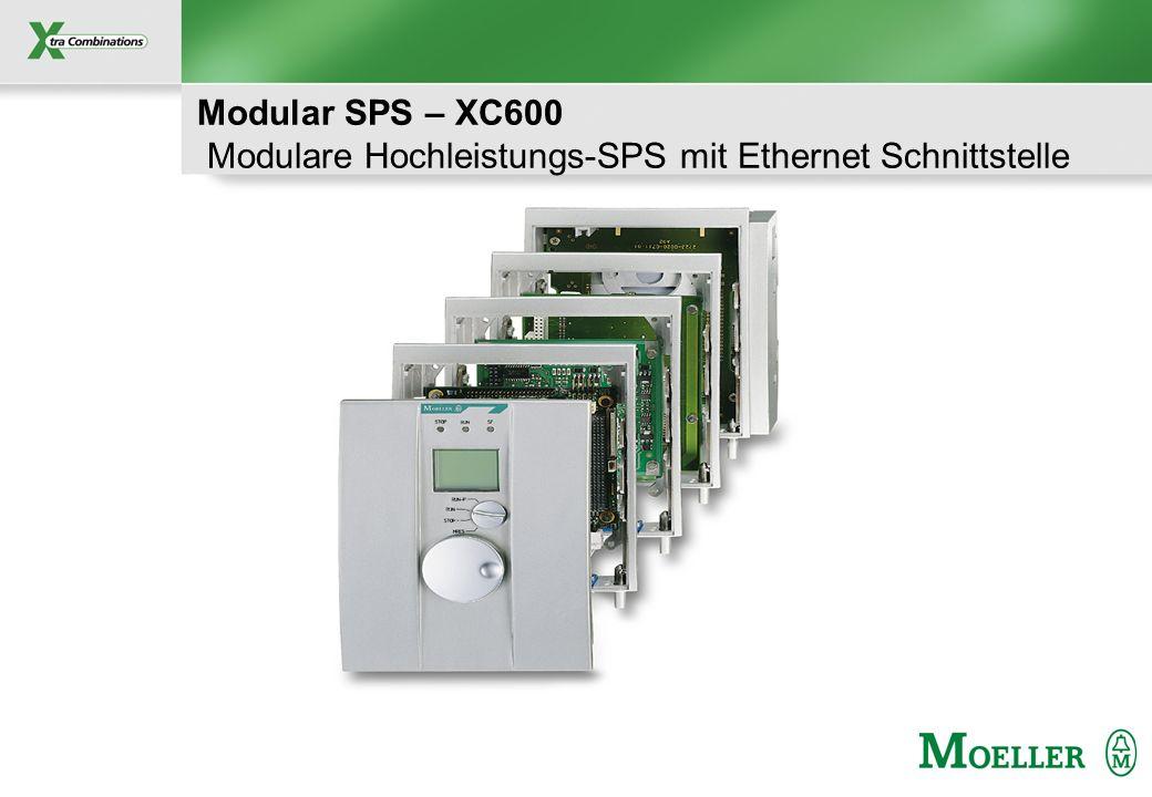 Schutzvermerk nach DIN 34 beachten Modulare SPS – XC600 Produkt- Eigenschaften (I) Leistungsfähige SPS – 0,02ms pro K – Multitasking Betriebssystem – 4 Speichertypen (1,2,4,8 MB) Schnittstellen –100 MBit/s Ethernet Schnittstelle –Serielle Schnittstelle CompactFlash TM Speicherkarte – Programm- und Projektablage – Rezepturverarbeitung – Datenablage – Standard Dateisystem Kommunikationsmöglichkeiten – OPC-Server, WEB-Server u.v.m