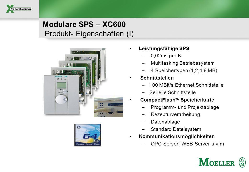 Schutzvermerk nach DIN 34 beachten Modulare SPS – XC600 Produkt- Eigenschaften (I) Leistungsfähige SPS – 0,02ms pro K – Multitasking Betriebssystem –