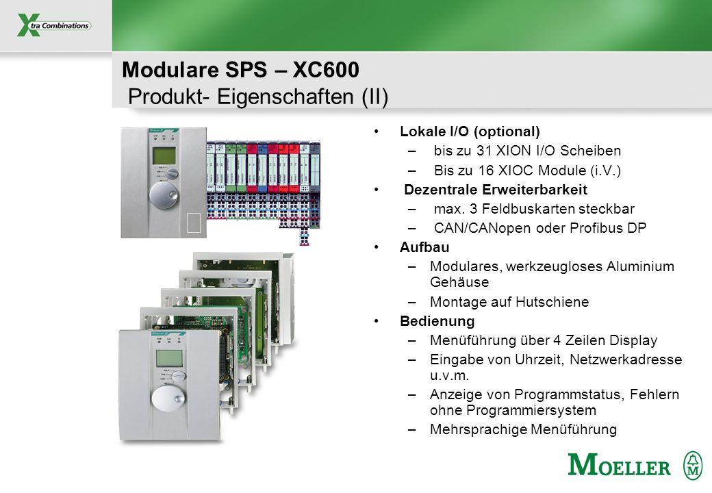Schutzvermerk nach DIN 34 beachten CANOpen Profibus DP Dezentrale Vorverarbeitung mit XC100, XC200 Dezentrale E/A mit XI/ON Modulare SPS – XC600 System- Eigenschaften (I): Feldbusvernetzung Geschwindigkeit –max.