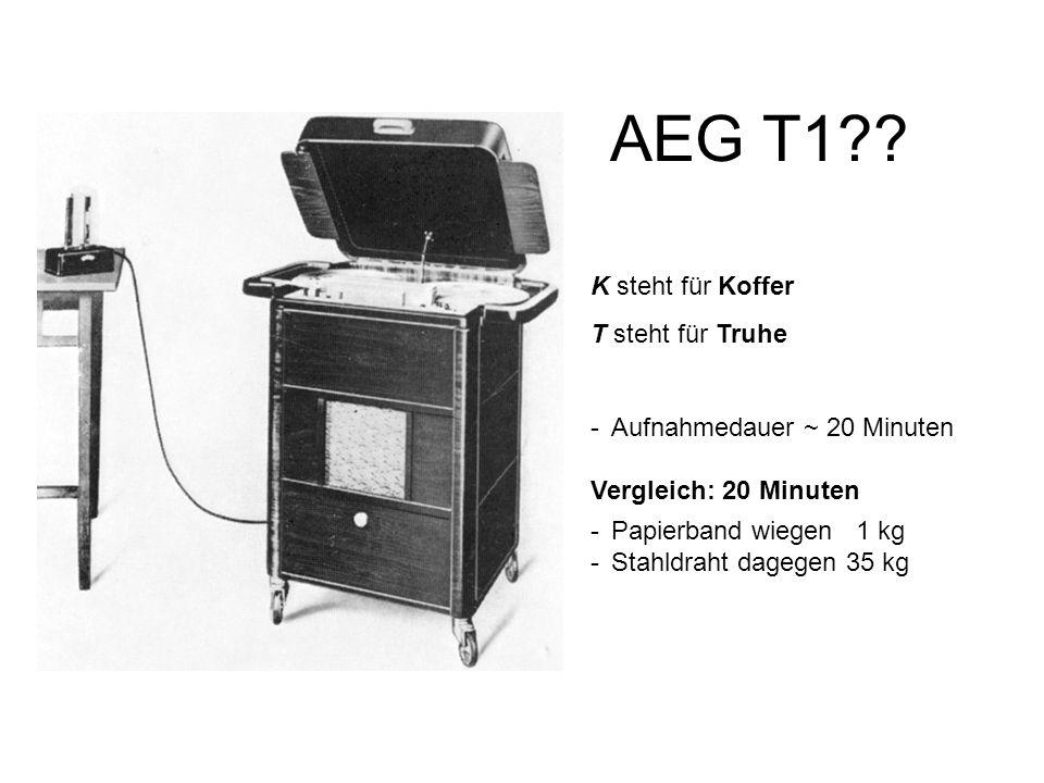 AEG T1?? K steht für Koffer T steht für Truhe -Aufnahmedauer ~ 20 Minuten Vergleich: 20 Minuten -Papierband wiegen 1 kg -Stahldraht dagegen 35 kg