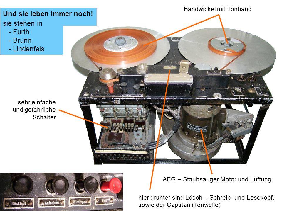 Und sie leben immer noch! sie stehen in - Fürth - Brunn - Lindenfels AEG – Staubsauger Motor und Lüftung sehr einfache und gefährliche Schalter Bandwi