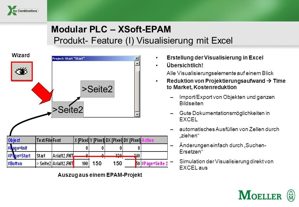 Schutzvermerk nach DIN 34 beachten Modular PLC – XSoft-EPAM Produkt- Feature (I) Visualisierung mit Excel Erstellung der Visualisierung in Excel Übers