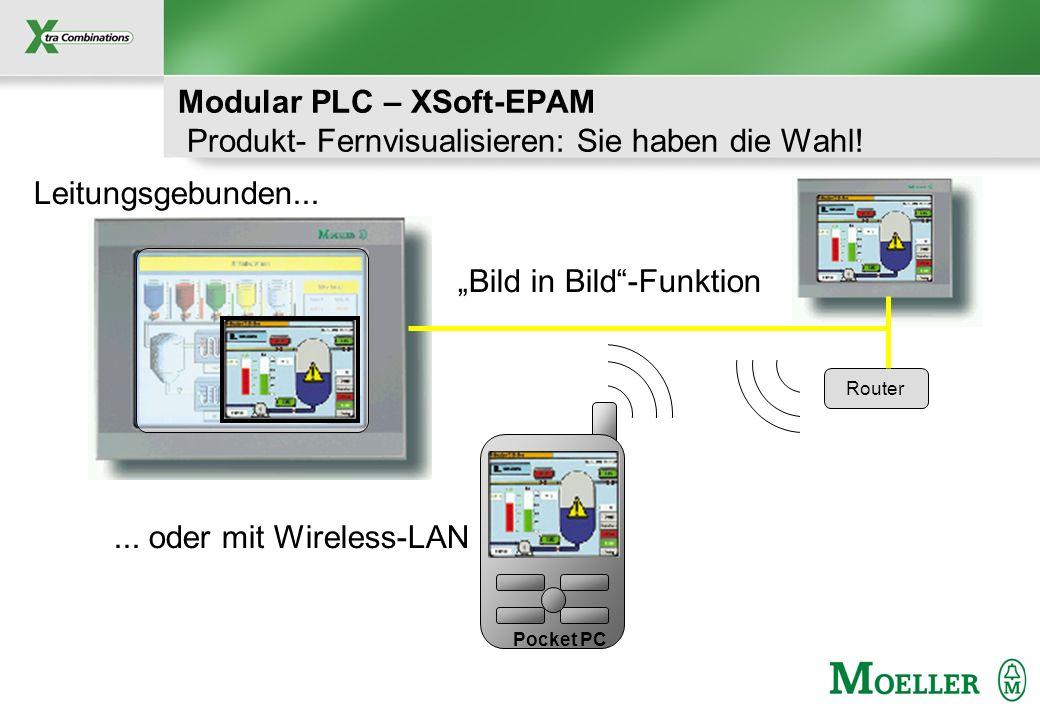 Schutzvermerk nach DIN 34 beachten Modular PLC – XSoft-EPAM Produkt- Fernvisualisieren: Sie haben die Wahl! Leitungsgebunden... Router... oder mit Wir