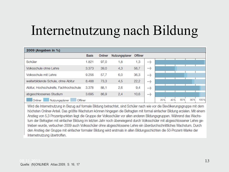 08.11.201313 Internetnutzung nach Bildung Quelle: (N)ONLINER Atlas 2009, S. 16, 17