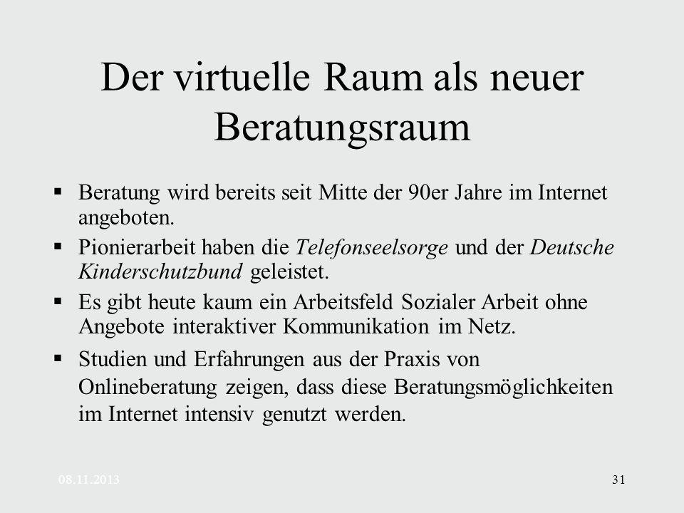 08.11.201331 Der virtuelle Raum als neuer Beratungsraum Beratung wird bereits seit Mitte der 90er Jahre im Internet angeboten.