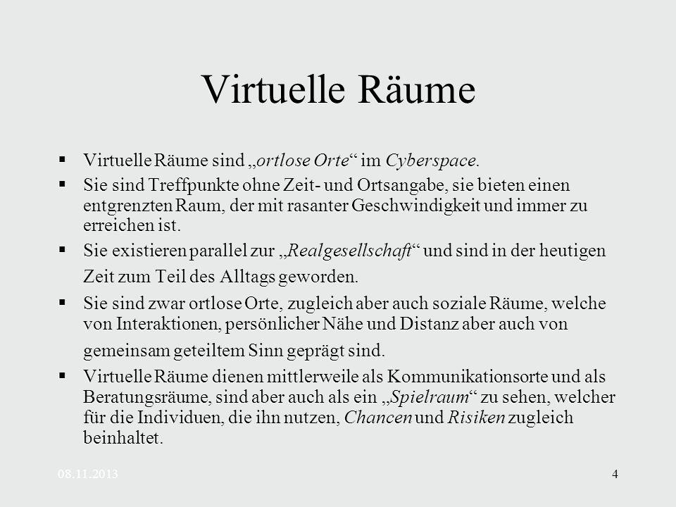 08.11.20134 Virtuelle Räume Virtuelle Räume sind ortlose Orte im Cyberspace.