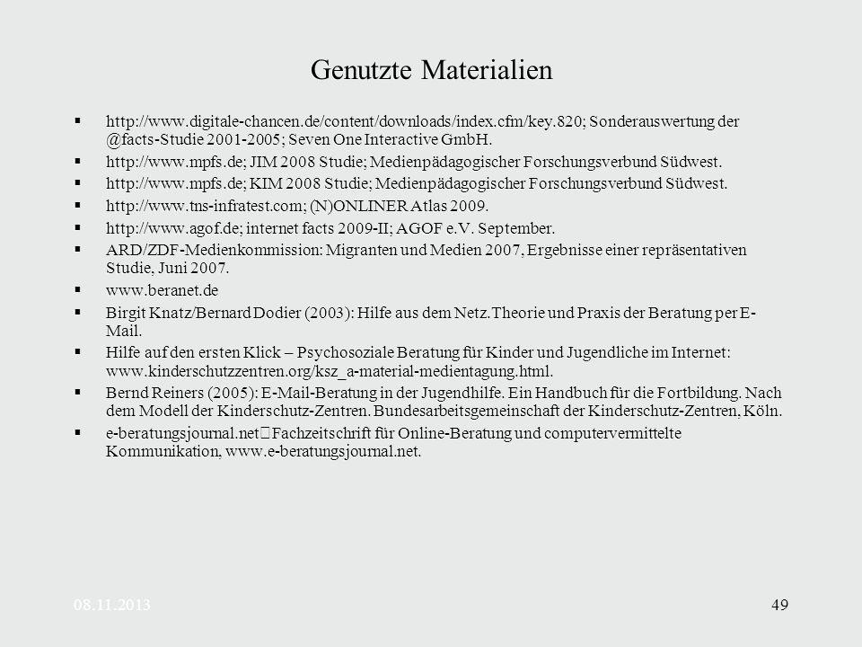 08.11.201349 Genutzte Materialien http://www.digitale-chancen.de/content/downloads/index.cfm/key.820; Sonderauswertung der @facts-Studie 2001-2005; Seven One Interactive GmbH.