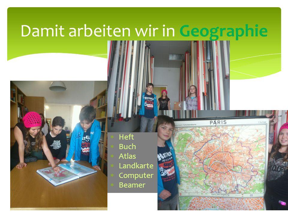 Heft Buch Atlas Landkarte Computer Beamer Damit arbeiten wir in Geographie
