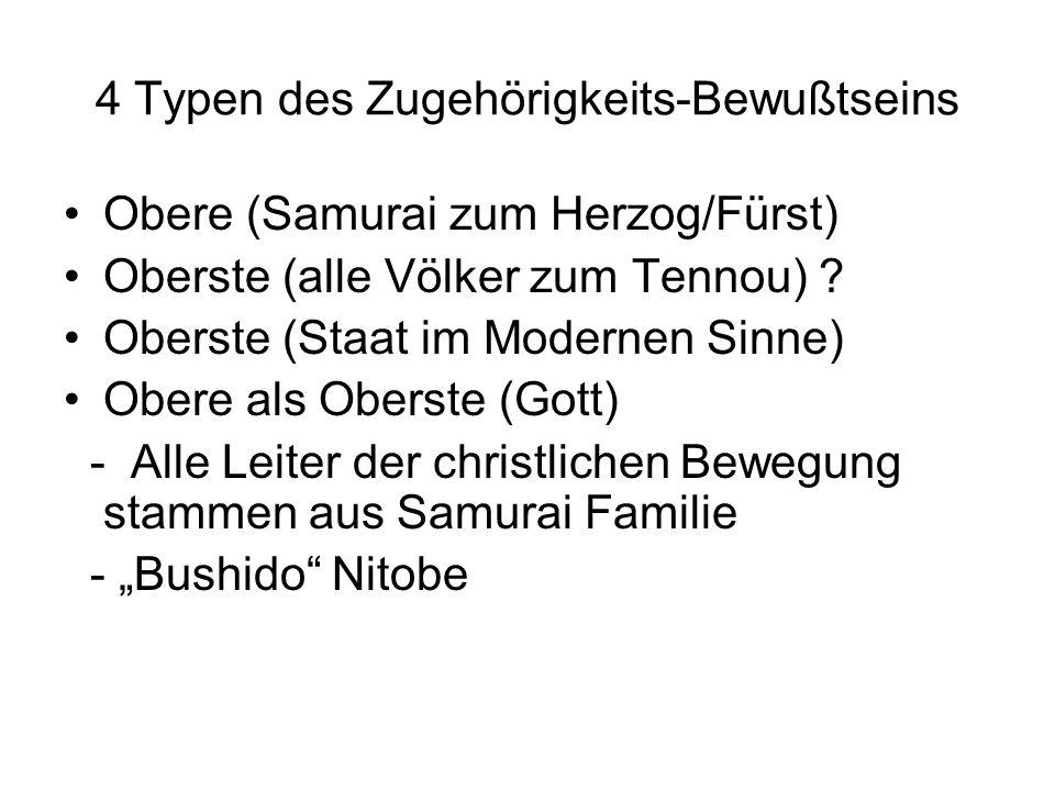 4 Typen des Zugehörigkeits-Bewußtseins Obere (Samurai zum Herzog/Fürst) Oberste (alle Völker zum Tennou) ? Oberste (Staat im Modernen Sinne) Obere als