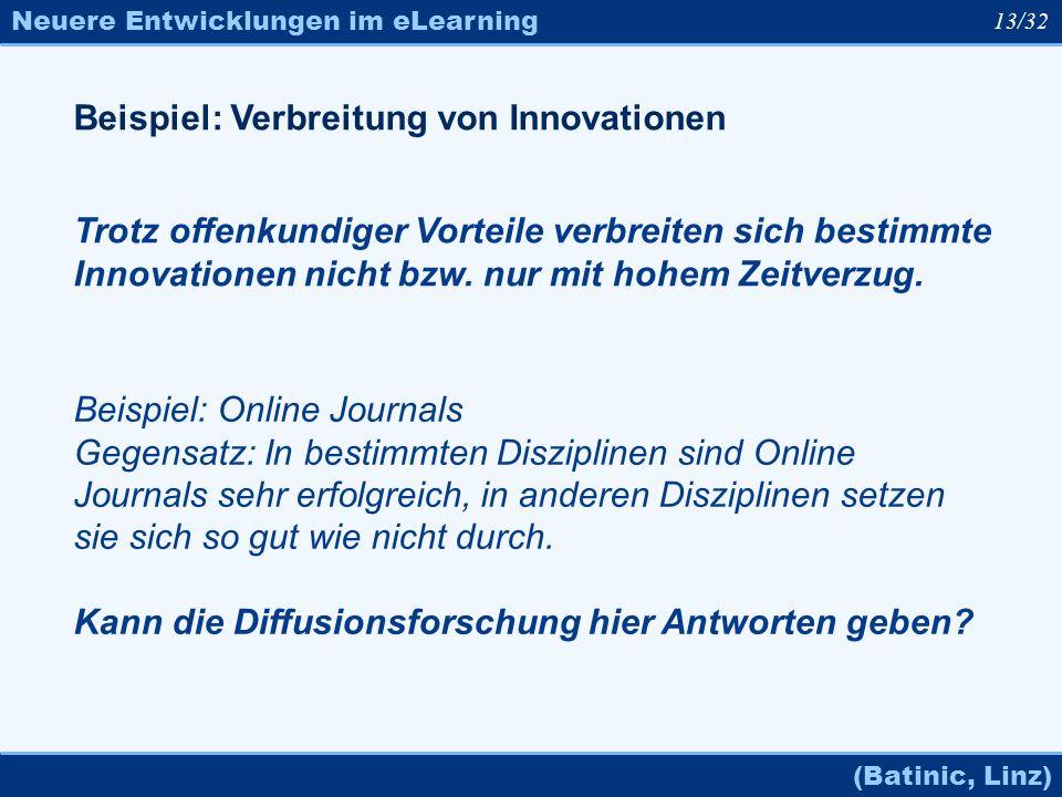 Neuere Entwicklungen im eLearning (Batinic, Linz) 13/32 Beispiel: Verbreitung von Innovationen Trotz offenkundiger Vorteile verbreiten sich bestimmte