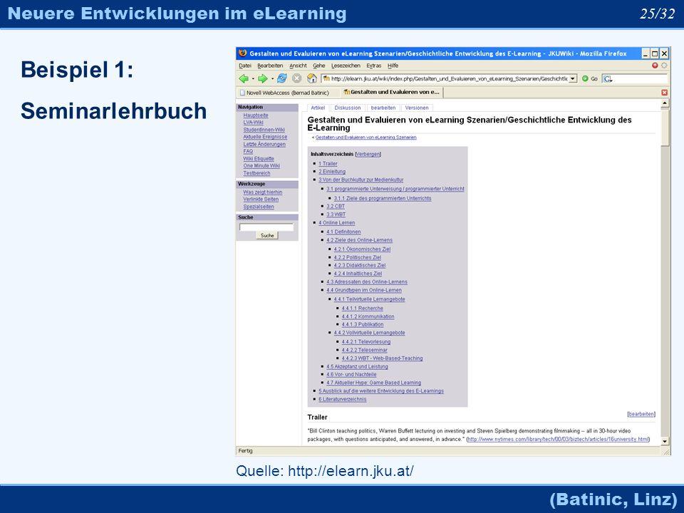 Neuere Entwicklungen im eLearning (Batinic, Linz) 25/32 Quelle: http://elearn.jku.at/ Beispiel 1: Seminarlehrbuch