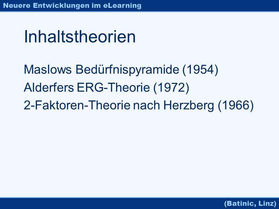 Neuere Entwicklungen im eLearning (Batinic, Linz) Inhaltstheorien Maslows Bedürfnispyramide (1954) Alderfers ERG-Theorie (1972) 2-Faktoren-Theorie nac