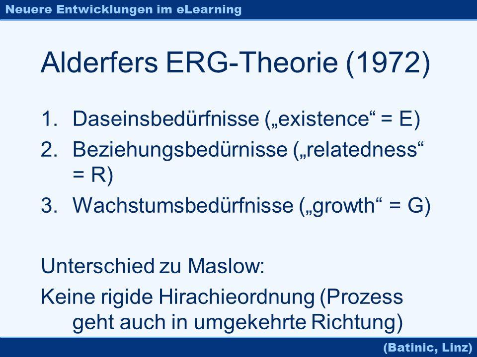 Neuere Entwicklungen im eLearning (Batinic, Linz) Alderfers ERG-Theorie (1972) 1.Daseinsbedürfnisse (existence = E) 2.Beziehungsbedürnisse (relatednes
