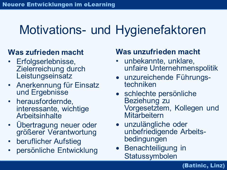 Neuere Entwicklungen im eLearning (Batinic, Linz) Motivations- und Hygienefaktoren Was zufrieden macht Erfolgserlebnisse, Zielerreichung durch Leistun