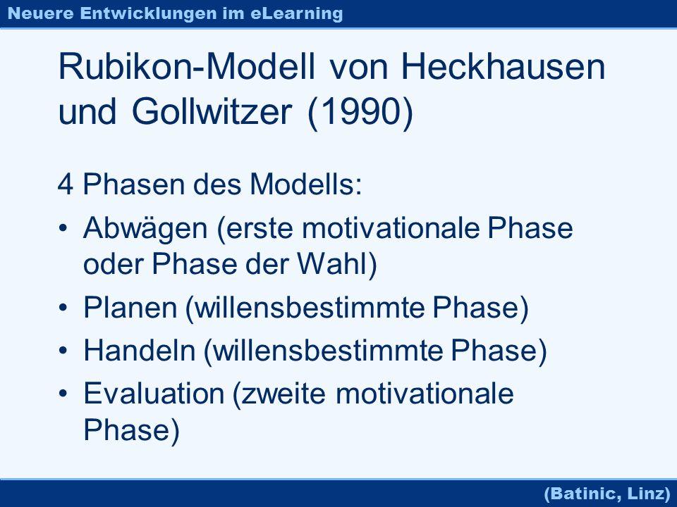 Neuere Entwicklungen im eLearning (Batinic, Linz) Rubikon-Modell von Heckhausen und Gollwitzer (1990) 4 Phasen des Modells: Abwägen (erste motivationa