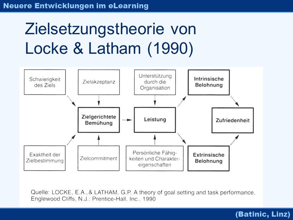 Neuere Entwicklungen im eLearning (Batinic, Linz) Zielsetzungstheorie von Locke & Latham (1990)