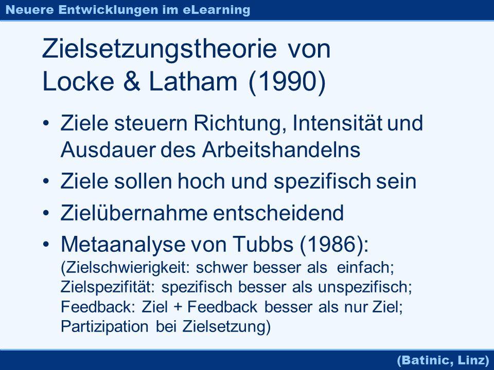 Neuere Entwicklungen im eLearning (Batinic, Linz) Zielsetzungstheorie von Locke & Latham (1990) Ziele steuern Richtung, Intensität und Ausdauer des Ar
