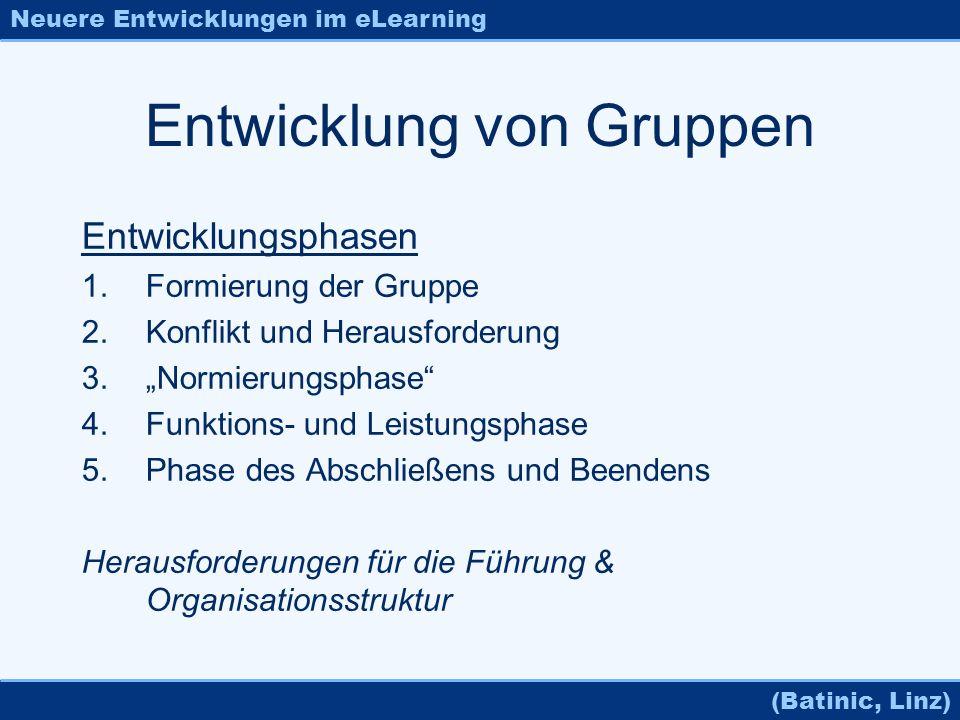 Neuere Entwicklungen im eLearning (Batinic, Linz) Entwicklung von Gruppen Entwicklungsphasen 1.Formierung der Gruppe 2.Konflikt und Herausforderung 3.