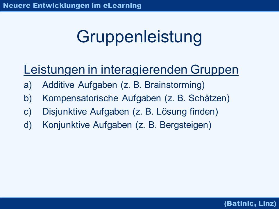 Neuere Entwicklungen im eLearning (Batinic, Linz) Gruppenleistung Leistungen in interagierenden Gruppen a)Additive Aufgaben (z. B. Brainstorming) b)Ko