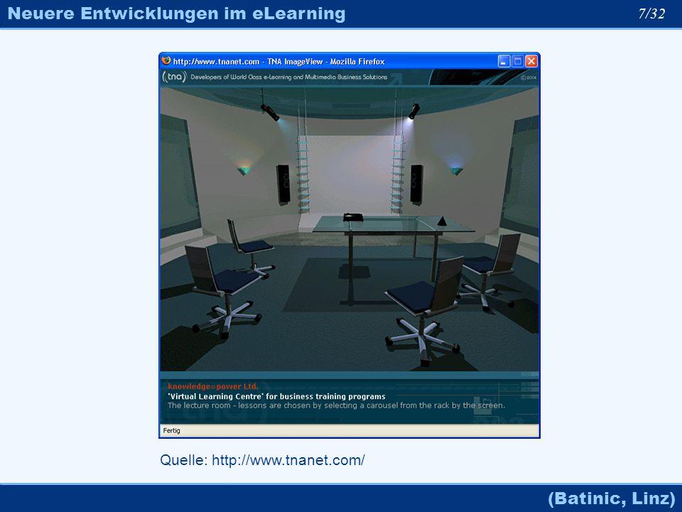 Neuere Entwicklungen im eLearning (Batinic, Linz) 7/32 Quelle: http://www.tnanet.com/