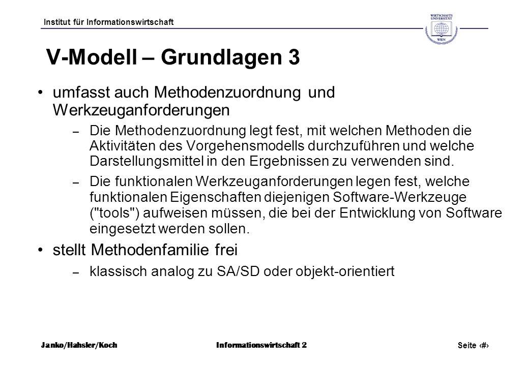 Institut für Informationswirtschaft Seite 7 Janko/Hahsler/KochInformationswirtschaft 2 V-Modell – Grundlagen 3 umfasst auch Methodenzuordnung und Werk