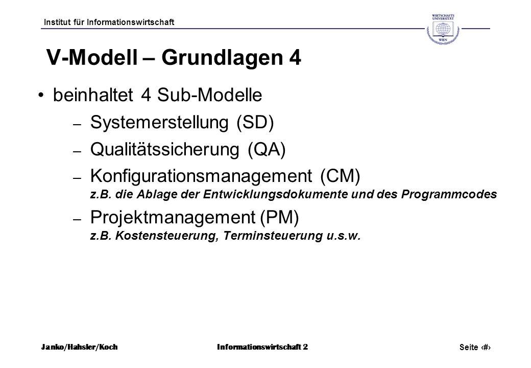 Institut für Informationswirtschaft Seite 8 Janko/Hahsler/KochInformationswirtschaft 2 V-Modell – Grundlagen 4 beinhaltet 4 Sub-Modelle – Systemerstel